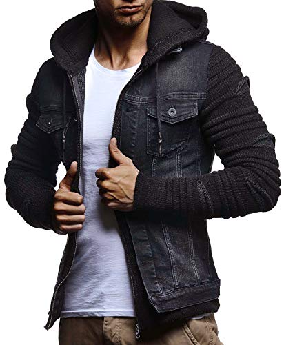 Mens Denim Jean Black-Anthracite Jacket With Knitted Sleeves