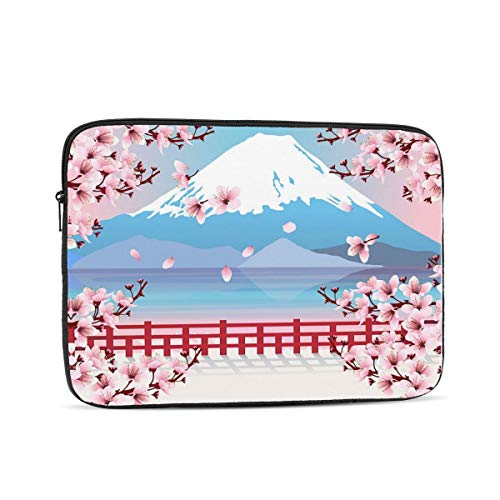 KXT Mountain with Cherry Blossom Laptop Sleeve,Carrying Bag Chromebook Case Notebook Bag Tablet Cover