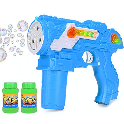 Bubble Shooter Gun with Laser Space Gun Sound Effects & LED Flashing Lights Bubble Blaster Toy Gun, 2 Bottles of Refill Solution and Batteries Included (Random Color Blue or Green)