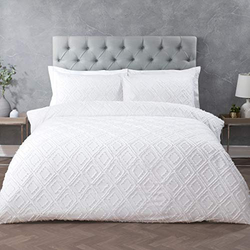 Sleepdown Geo Tufted White Geometric Diamond Super Soft Duvet Cover Quilt Bedding Set with Pillowcases - King (220cm x 230cm)
