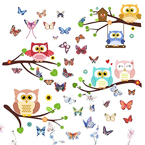 Pegatinas Pared Colores Arbol Pájaro Búho Mariposa Flores Pegatinas Adhesivas Decoración para Pared Ventana Armario Nevera Sala Hogar Dormitorio Oficina Restaurante