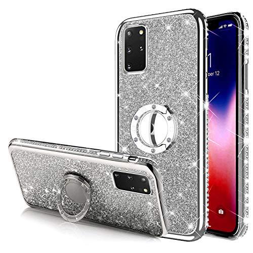 Kompatibel mit Samsung Galaxy S20 Plus Hülle Tasche mit 360 Grad Ring Ständer Shiny Glänzend Bling Glitzer Diamant Handyhülle Transparent TPU Silikon Hülle Schutzhülle für Galaxy S20 Plus,Silber