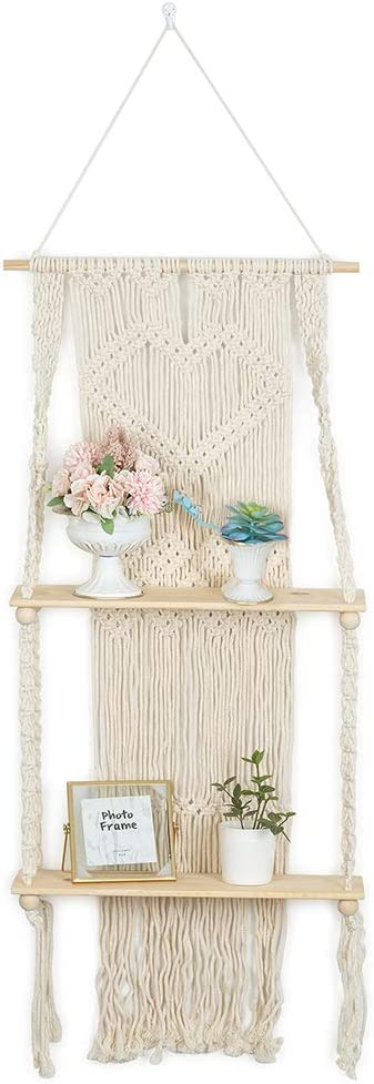 NUPTIO Macrame Wall Hanging Shelf Woven Tapestry Double Tier Wood Floating Hanging Storage Plant Shelves Bohemian Art Wall Home Decor for Bedroom Living Room Bathroom, 44.5