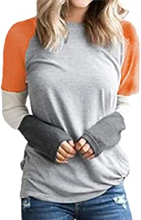 desolateness Women's Casual Contrast Raglan Sleeves Loose Fit Blouse Tops Top
