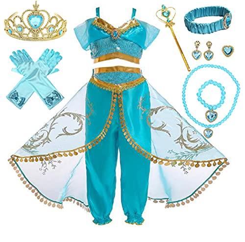 Elmia 子供 ドレス プリンセス ドレス セットアップ クリスマス ハロウィン 豪華アクセサリー7点セット(ティアラ スティック ブレスレット イヤリング リング ネックレス 手袋)付 (100)