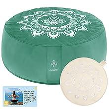 OVERMONT Cojín de Yoga Zen Meditación Redondo 41x13cm Relleno de Alforfón, Zafu Cojín de Piso con 4 Fundas de Terciopelo y Lona y con Asa