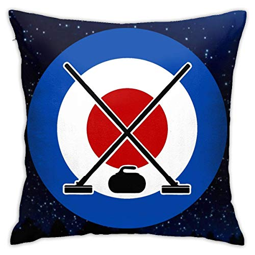 Traveler Shop Curling Sport Funda de Almohada Funda de cojín Cuadrada Sofá casero Decorativo 18x18 Pulgadas