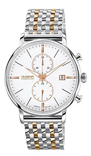 Dugena Herren-Armbanduhr Festa Chronograph - Traditional Classic Analog Quarz Edelstahl beschichtet 7090169