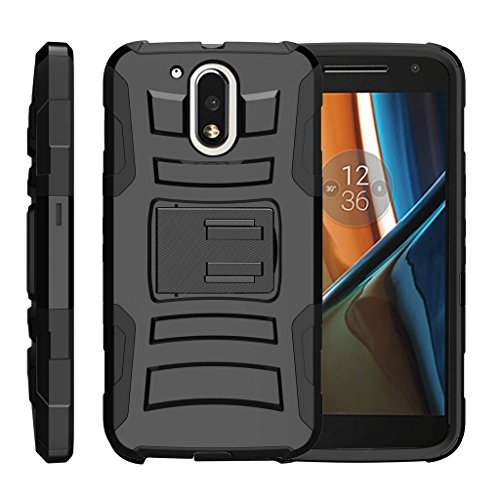 TurtleArmor | Compatible with Motorola Moto G4 Case | Moto G 4th Gen | Moto G4 Plus Case [Hyper Shock] Rugged Shell Kickstand Shock Silicone Holster Clip Military War Camo - Black