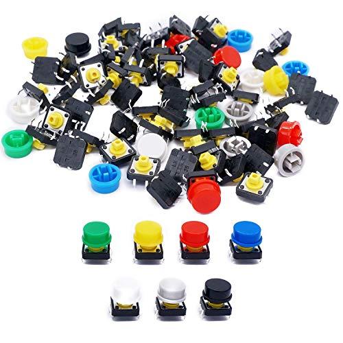 Taiss 70 unidades de interruptores táctiles momentanos, multicolor, 12 x 12 x 7,3 mm, 4 polos + 70 tapas de interruptor (10 unidades de cada color).