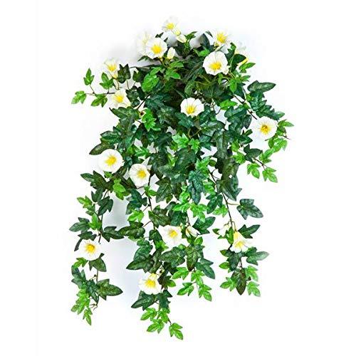 artplants.de Künstlicher Petunien Hänger, 320 Blätter, 28 Blüten, gelb - weiß, 55cm - naturgetreue Kunstblume - künstliche Ranke