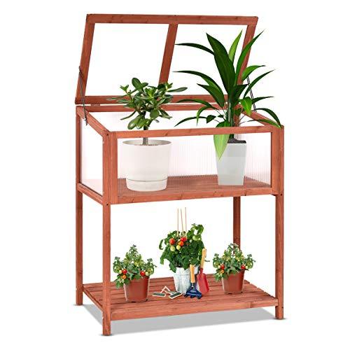 GOPLUS Hochbeet, Kräuterbeet, Gemüse Kräuter Beet, Frühbeet für Garten, Tischbeet für Balkon, aus Tannenholz, rotbraun, 90x50x103cm