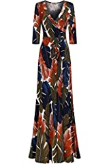 IMPORTANT SIZING INFORMATION: Fit women height range from 5 Feet 4 Inch to 5 Feet 9 Inch. 5 feet 4 inch may need a heel depends on the size you order. Made in USA FEATURES: This full length mock wrap dress features surplice top, A line floor length s...