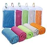 5pcs Cool Towel Serviette de Sport 30×90cm Serviette Microfibre Serviette rafraîchissante Absorbant l'Eau, séchage Rapide, léger pour Yoga, Plage, Golf, Sport, Gym, Natation, Voyage