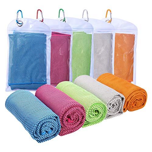 Cooling Towel, 30×90cm Kühlendes Fitness Handtuch, 5er Selbstkühlendes Handtuch Microfaser Handtuch Sport Für Heißes Wetter Yoga Gym Reisen Camping Golf Tennis Fußball & Outdoor Sport