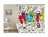 Epinki Duschvorhang Anti-Schimmel aus Polyester Buchstaben Musik Muster Badewanne Vorhang Badewannenvorhang Bunt mit 12 Duschvorhangringen für Badewanne Badezimmer - 180x200CM