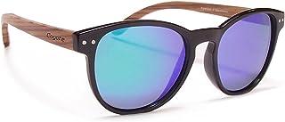 Coyote Eyewear Beachwood Polarized Sunglasses, Black, Blue Mirror, Medium/Large