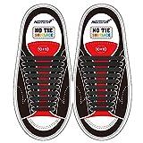 Homar sin corbata Cordones de zapatos para niños y adultos Impermeables cordones de zapatos de atletismo atlética de silicona elástico plano con multicolor de los zapatos del tablero Sneaker boots (Adult Size Black)