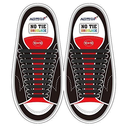 Homar No Tie Lacci per scarpe per bambini e adulti - Impermeabile in silicone elastico piatto Laces Athletic scarpa da corsa con multicolore per Scarpe Sneakerboots bordo e scarpe casual (Adult Size Black)
