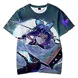 Demon Slayer Camiseta de Verano para Hombre Kimetsu no Yaiba Camiseta con Estampado 3D Nezuko Zenitsu Disfraz de Cosplay Camiseta-A_3XL