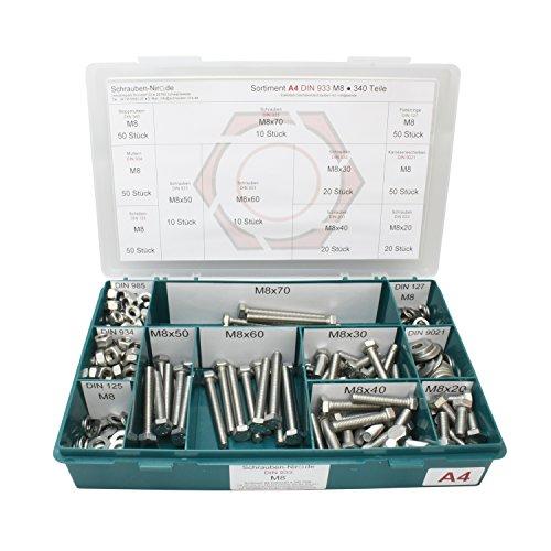 Sortiment M8 DIN 933 Edelstahl A4 (V4A) Sechskantschrauben mit Gewinde bis Kopf - Set bestehend aus Schrauben, Unterlegscheiben (DIN 125, 127, 9021) und Muttern (DIN 934, 985) - 340 Teile