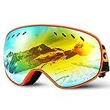 Glymnis Masque de Ski Lunettes de Ski Hommes Femmes Anti-buée OTG Anti-UV400 Mousse Respirante à 3 Couches pour Activité...