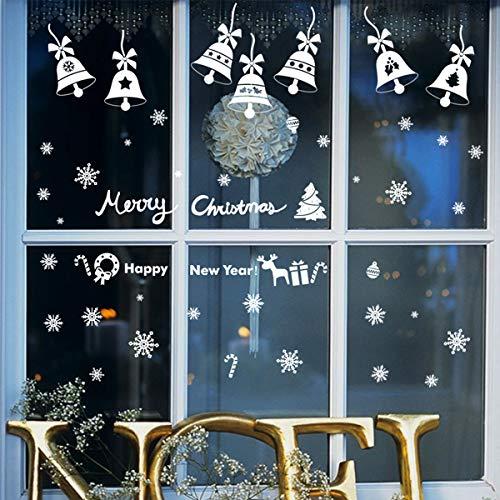 Jinlaili 6 Hojas Pegatinas de Navidad, 193PCS Pegatinas Reutilizables Navideñas Electroestaticas, Copos de Nieve Adhesivos, Adhesivos Vinilos Navidad para Decoración del Hogar/Escaparates/Ventanas