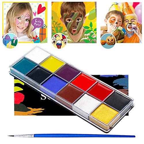 Face Paint, Kids Face Painting, Halloween Makeup Kit, Waterproof Face Paint, Face Paint Set for Kids, 12 Colors Water Based Paints, Professional Face Paint Palette, Safe for Sensitive Skin