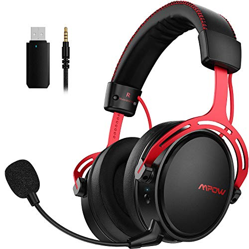 Mpow Air 2.4G Auriculares Gaming para PS4, PC, Xbox One, Estéreo Cascos Inalámbricos para Juegos, Micrófono con Cancelación de Ruido,Transmisor USB Incluido - Rojo