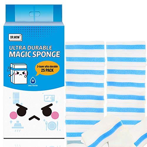 (25 Count) Dr. WOW Extra Durable Magic Cleaning Sponges, Premium Eraser Sponges for Multi-Purposes