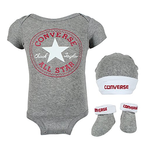 Converse Babykleidung Erstausstattung Baby Geschenkset 3er Gift Set Grau 0-6 Monate