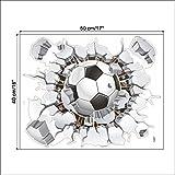 Ecloud Shop® Fútbol 3D Pegatinas Decorativas de TV de Fondo Desmontable de Estar la Sala de Pegatinas de Pared Dormitorio (2 Piezas)