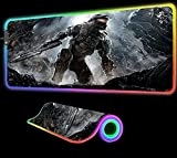 Gaming Mouse Pad Halo 5 Guardians Master Gaming Mouse Pad Computer LED Light RGB Large Fashion Colorful Durable Backlit Keyboard Mat Gift,24 inch x12 inch