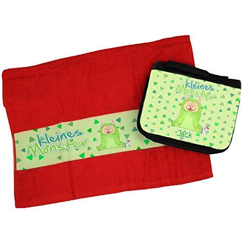 Eurofoto Handtuch + Kulturbeutel Set mit Namen Jack und Mit kleinem grünen Monster für Jungen | Handtuch und Kulturbeutel Bedruckt |
