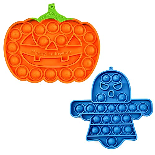 JECCYE 2 PCS Pop Sensory Fidget Toys Halloween Pumpkin and Ghost, Pop Silicone Toy Keychain for Kids Adults, Bubble Popper Stress Anxiety Relief Toys for Autism ADHD Special Needs