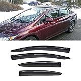 Gevog 4-Piece Side Window Deflector Original Window Visors for 2012-2015 Honda Civic 4-Door Sedan Smoke Sun Rain Guard Ventvisor