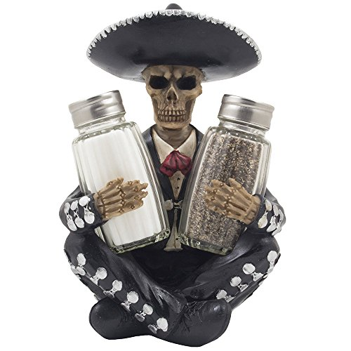 Dia de Los Muertos Mariachi Skeleton Salt and Pepper Shaker Set with Decorative Figurine Holder for Day of the Dead Mexican Festival Decor or Halloween Party Kitchen Table Decorations As Gothic Gifts by Home-n-Gifts