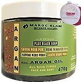 Peeling - Sapone nero marocchino con olio di ARGAN biologico da 470 g + Puff Viso Esfoliante Cleanse Kessa, 100% naturale di olio di argan, antirughe, ricco di vitamina E, HAMMAM & SPA, Marocco GLAM…