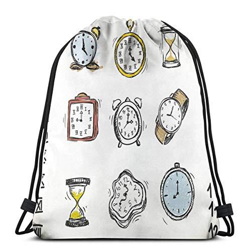 Odelia Palmer Mochilas Estampadas con cordón, una Variedad de Relojes Antiguos y Relojes con garabatos Ilustración Dibujada a Mano, Cierre de Cuerda Ajustable