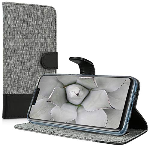 kwmobile Huawei Nova 3 Hülle - Kunstleder Wallet Case für Huawei Nova 3 mit Kartenfächern und Stand - Grau Schwarz - 5