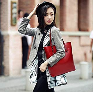 Fashion Red Leather Shoulder Bag For Women Trendy Elegant Tote Bag European Style Ladies HandBag
