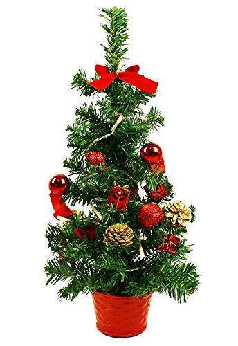 HAAC Led künstlicher Weihnachtsbaum Farbe grün 45 cm geschmückt mit 15er Leds und roten Baumkugeln Tannenzapfen