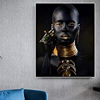 黒人女性チョーカーネックレスジュエリーウォールアートキャンバス絵画壁のポスターとプリントアフリカンアートプリント壁の装飾| 60x80cm /フレームなし
