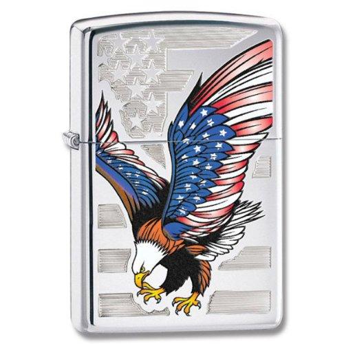 Zippo High Polish Chrome, bandiera americana W/Bald Eagle, alta cromo, bandiera americana W/Bald Eagl