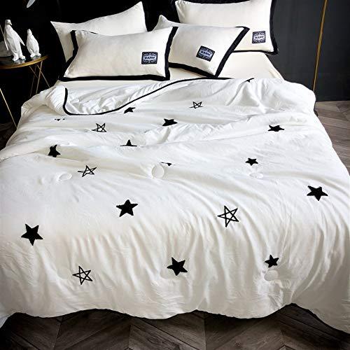 HOUMEL Ropa de cama blanca individual/doble, suave, antibacteriana, acolchado, microfibra, ligera, de poliéster, accesorio para cama, sillón o sofá 033 (color B, tamaño doble)