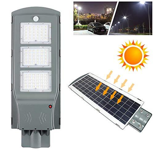 Froadp 60W Solar Straßenleuchte mit Radar-Bewegungserfassung + Lichtsteuerung Sensor IP65 Wasserdichte Akku Bestrahlungsfläche 110㎡ für Outdoor Garten Wege Park Einfahrten(ohne Lichtmast)