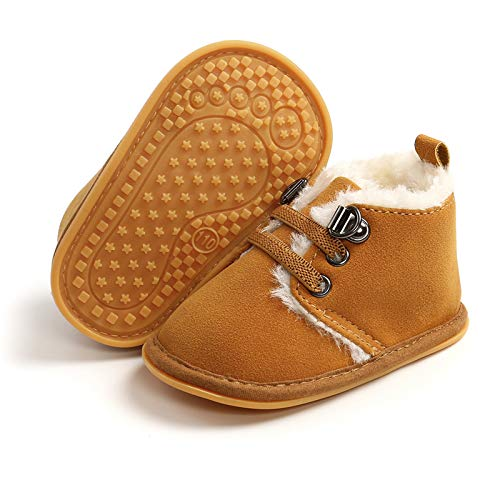 BENHERO Baby Boys Girls Anti-Slip Snow Boots Winter Warm Infant Toddler Outdoor Shoes(0-6 Months Infant,B-Brown)