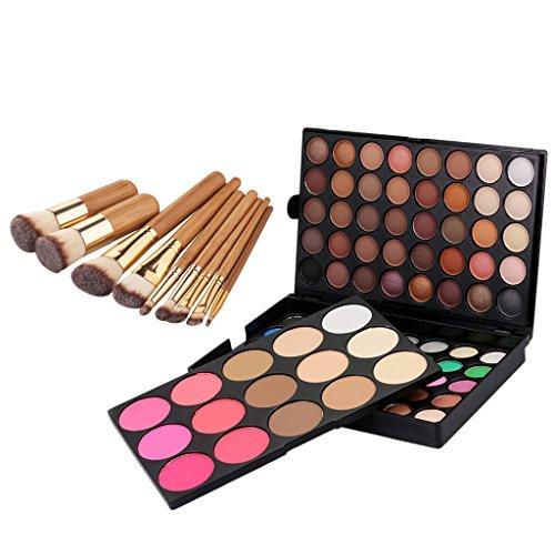 MagiDeal Palette de Ombres/Fards à Paupières 95 Couleurs Eyeshadow + 9pcs Brosse Pinceau de Maquillage en Bambou pour Fondation Poudre Fond de Teint Liquide Cosmétique