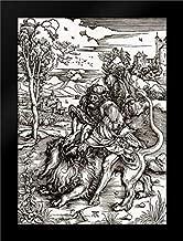 Samson Killing The Lion Framed Art Print by Durer, Albrecht