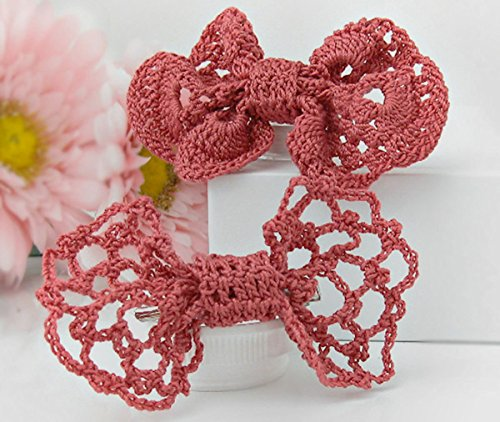Crochet Lace Bow Tie Hair Clips by StitchnTyme (Dusty Rose)